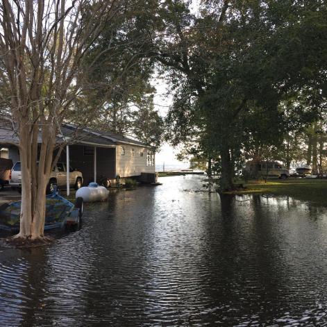 Neighbor's side yard is a lake